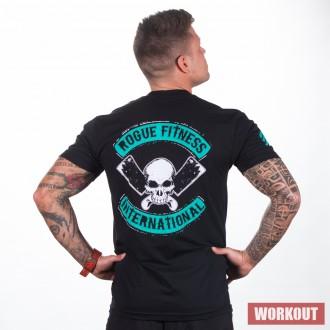 Pánské tričko Rogue International černo-tyrkysové