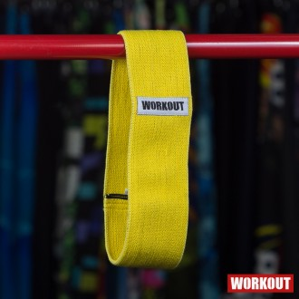 Textilní odporová guma / loop band WORKOUT - žlutá