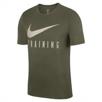 Pánské fitness tričko Nike TRAINING - zeleno-bílé