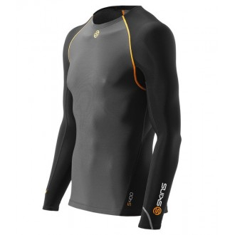 Pánské kompresní triko Skins Bio S400 - Thermal Mens Black/Graphite/Orange