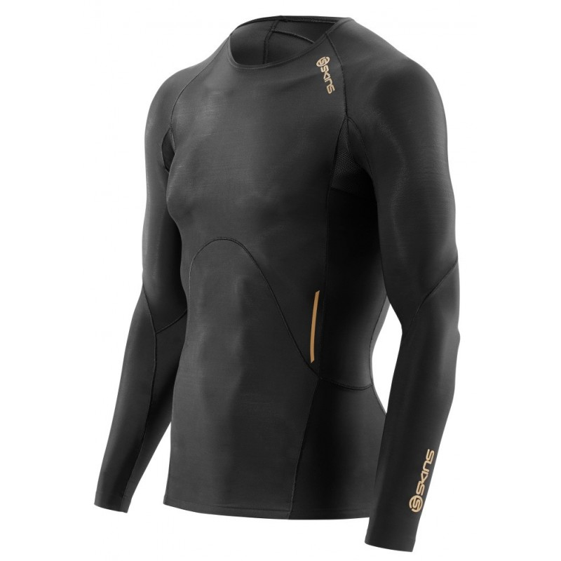 Pánské kompresní triko Skins A400 Mens Black Top Long Sleeve
