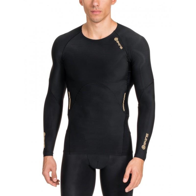 Pánské kompresní triko Skins A400 Mens Black Top Long Sleeve