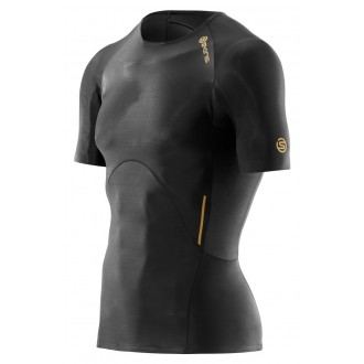 Pánskké kompresní tričko Skins A400 Mens Black Top Short Sleeve