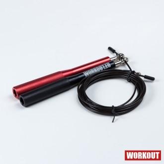 Švihadlo WORKOUT s hliníkovou rukojetí - černo/červené + černé lanko