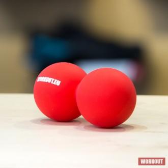 Masážní míček Double Lacrosse ball WORKOUT - červený