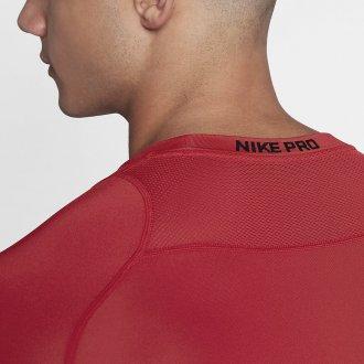 Pánské kompresní triko s dlouhým rukávem Nike - červené