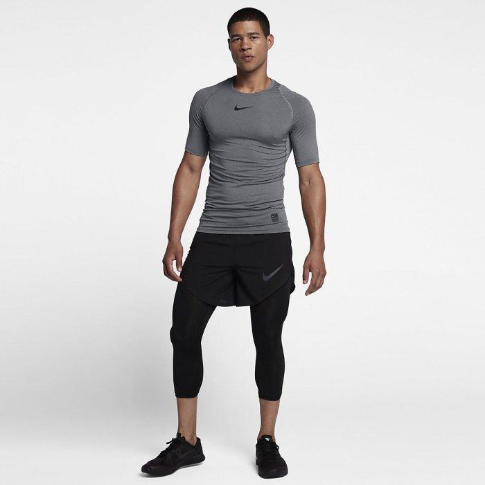 Pánský tréninkový top Nike s krátkým rukávem - Nike Pro - šedivý