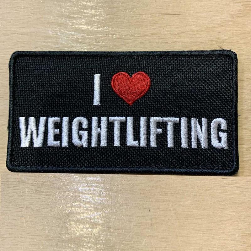 Nášivka I love Weightlifting - 95 x 50 mm se suchým zipem