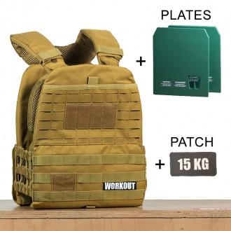 Zátěžová taktická plátová vesta 15 kg WORKOUT 3.0 - khaki + nášivka