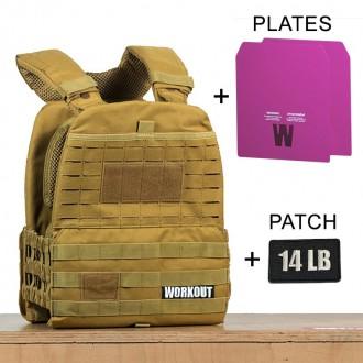 Zátěžová taktická plátová vesta 14 lb WORKOUT 3.0 - Khaki + nášivka (pro WOD Murph)