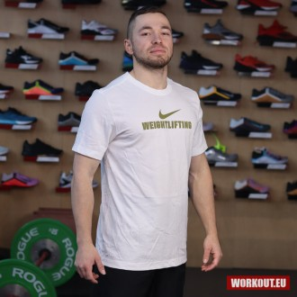 Nike Mens Weightlifting Tee - Gold/White