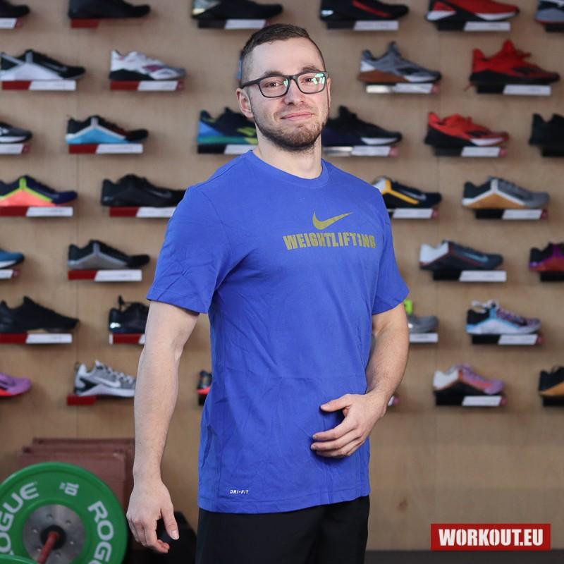 Pánské tričko Nike Weightlifting - Blue/Gold