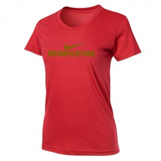 Dámské tričko Nike Weightlifting - Červená/Zlatá
