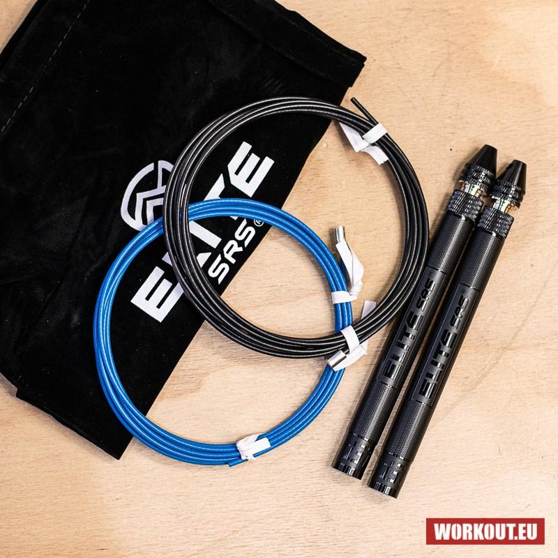 Elitní švihadlo ELITE SRS Bullet FIT Rope - modré a černé lanko