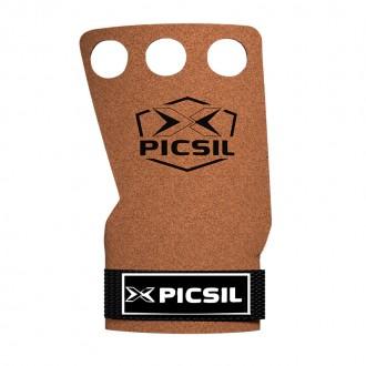 Mozolníky Picsil Raven Grips - gray - 3 prstý - Hnědý + bílé logo