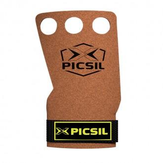 Mozolníky Picsil Raven Grips - gray - 3 prstý - Hnědý + žluté logo