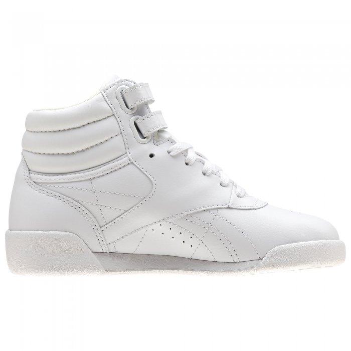 f9d496b60ca Dětské bílé závodní boty na aerobik Reebok Freestyle HI Classic f s - 50162