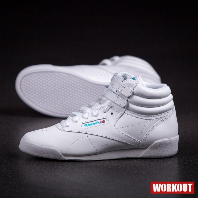 386e8669a3b Dětské bílé závodní boty na aerobik Reebok Freestyle HI ...