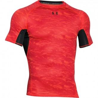 Pánské kompresní triko Under Armour červené vzorované
