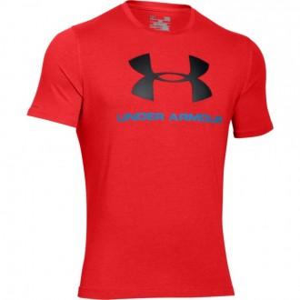 Pánské bavlněné triko Under Armour červené černé